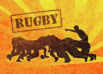 Rugby Players Engaged In Scrum  Art Print by Aloysius Patrimonio
