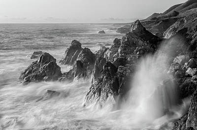 Photograph - Rugged Coastline Bw by Jonathan Nguyen