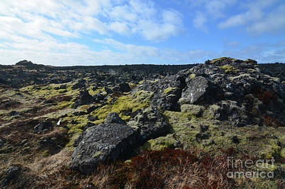 Photograph - Rugged Lava Field With Black Volcanic Rocks by DejaVu Designs