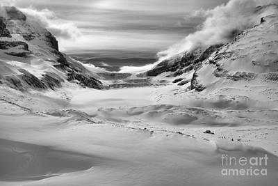 Photograph - Rugged Winter At The Athabasca Glacier Black And White by Adam Jewell