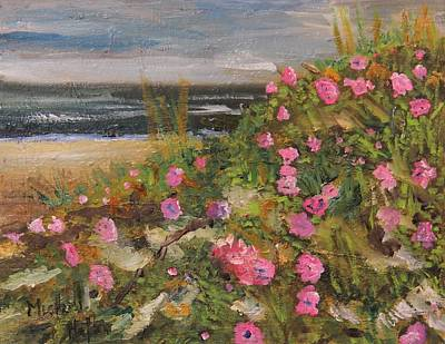 Painting - Rugosa Roses On Cape by Michael Helfen