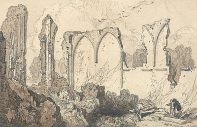 Free Drawing - Ruin Behind The Free School, Thetford, Suffolk by John Sell Cotman