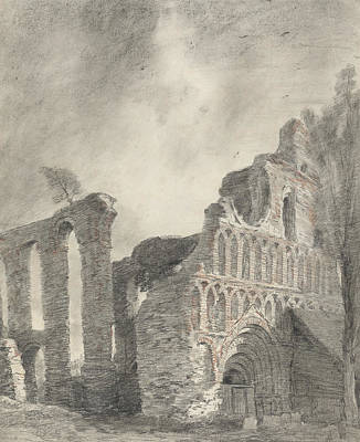 English Church Drawing - Ruin Of St Botolph's Priory by John Constable