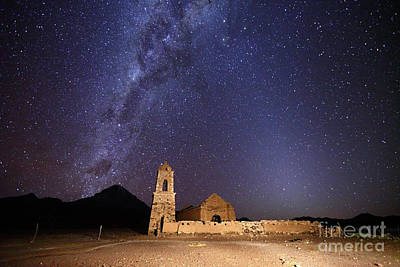 Ruined Church Milky Way And Zodiacal Light Bolivia Art Print by James Brunker