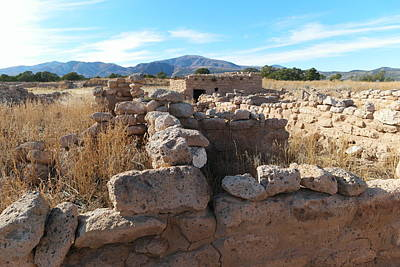 Ruins At The Puye Cliff Dwellings New Mexico Art Print by Jeff Swan