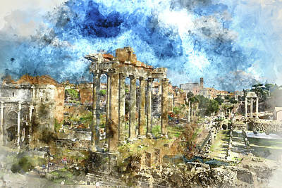 Photograph - Ruins In Rome Italy by Brandon Bourdages