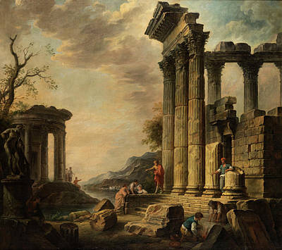Landscape With Figure Painting - Ruins Landscape With Figures by Giovanni Nicolas Servandoni