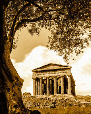 Greek Temple Mixed Media - Ruins Of Ancient Agrigento by Mark E Tisdale