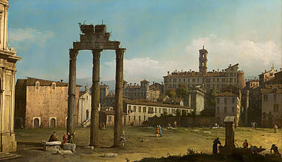 Antique Italian Oil Painting - Ruins Of The Forum - Rome by Mountain Dreams