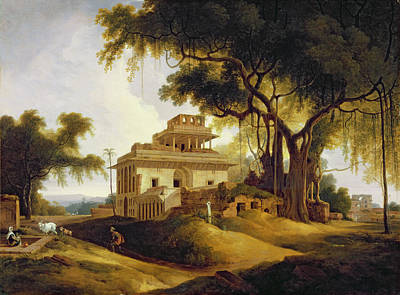 Temple Painting - Ruins Of The Naurattan by Thomas Daniell