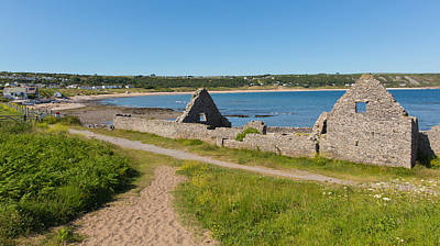 The Gower Photograph - Ruins Of The Old Salt House Port Eynon Bay The Gower Wales by Michael Charles