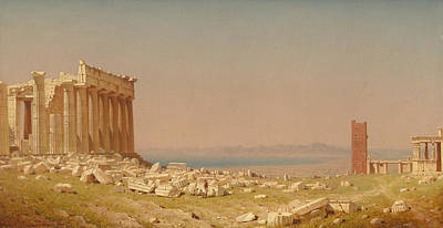 Greek School Of Art Painting - Ruins Of The Parthenon by Sanford Robinson Gifford