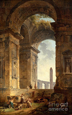 Obelisk Painting - Ruins With An Obelisk In The Distance by Celestial Images