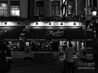Photograph - Rules - Oldest Restaurant In London - Black And White by Doc Braham