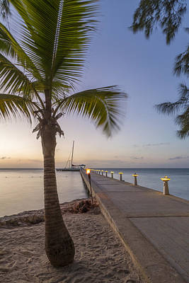 Serene Photograph - Rum Point Pier At Sunset by Adam Romanowicz