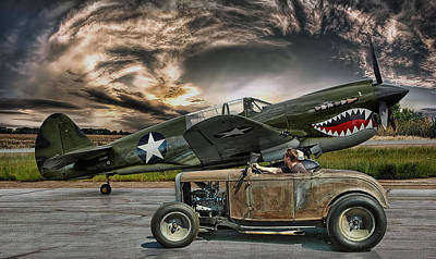 Rat Rod Digital Art - Rumble With The Warhawk .... by Rat Rod Studios