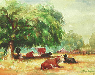 Farm Animal Painting - Rumination by Steve Henderson