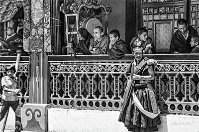 Tibetan Buddhism Photograph - Rumtek Monastery Festival Bw by Steve Harrington