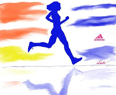 Jog Digital Art - Run Adidas by Jack Bunds