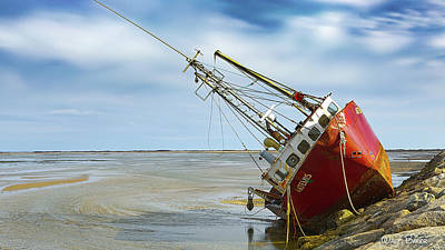Photograph - Run Aground by Walt Baker