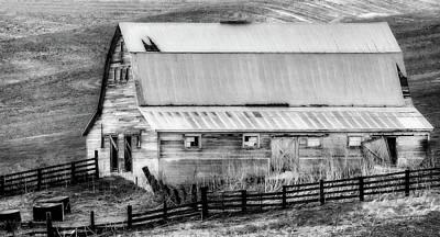Photograph - Run Down Barn Bw by Athena Mckinzie
