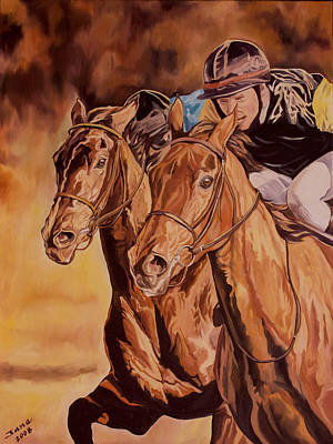 Horse Racing Painting - Run For Gold by Jana Goode