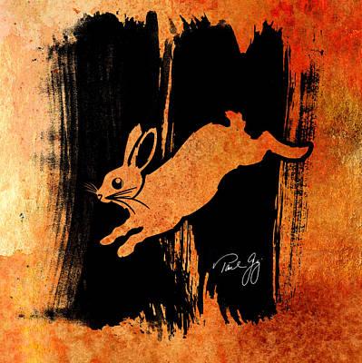 Wash Mixed Media - Run Rabbit Run by Paul Gaj