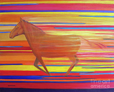 Race Horse Painting - Run With The Sun II by Brian  Commerford