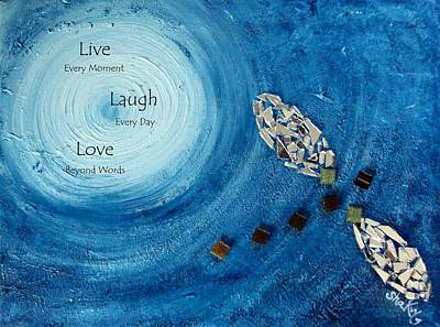 Moment Mixed Media - 'runaway' With Live Love Laugh Quote by Shannon Keavy