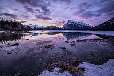 Photograph - Rundle Mountain Skies by Celine Pollard