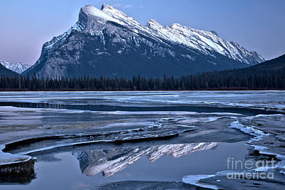 Photograph - Rundle Refelctions In The Winding Ice Channels by Adam Jewell