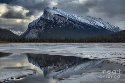 Photograph - Rundle Reflections Between The Ice by Adam Jewell