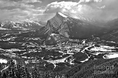Photograph - Rundle Towering Over The Town Of Banff Black And White by Adam Jewell