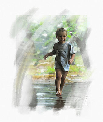 Runnin' In The Rain Art Print by Cliff Hawley