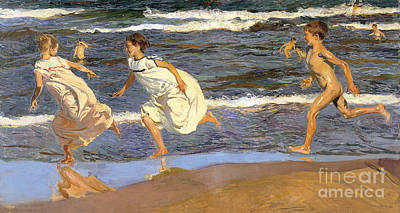 Art Print featuring the painting Running Along The Beach by Joaquen Sorolla y Bastida