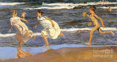 N.y Painting - Running Along The Beach by Joaquen Sorolla y Bastida