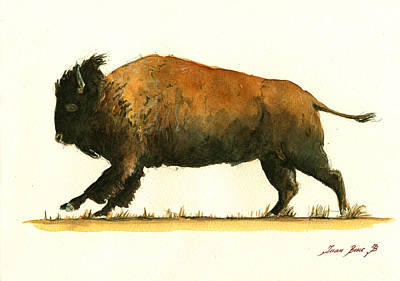 Bison Painting - Running American Buffalo by Juan  Bosco