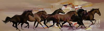 Painting - Running Beautiful Horses 09u by Gull G