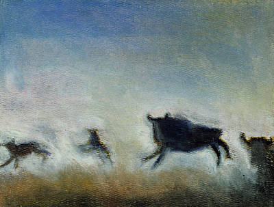 Running Bison Original by Ruth Sharton