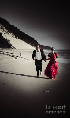 Running Bride And Groom Art Print by Jorgo Photography - Wall Art Gallery