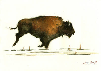 Bison Wall Art - Painting - Running Buffalo by Juan  Bosco