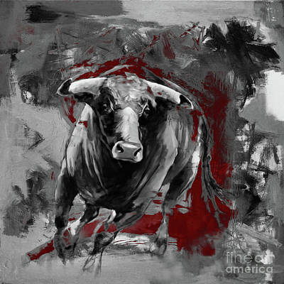 Bulls. Chicago Painting - Running Bull 0003 by Gull G