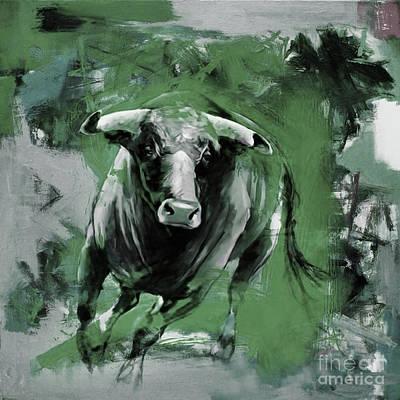 Bulls. Chicago Painting - Running Bull 0043 by Gull G