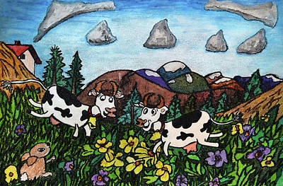 Naive Cartoon Painting - Running Cows by Monica Engeler