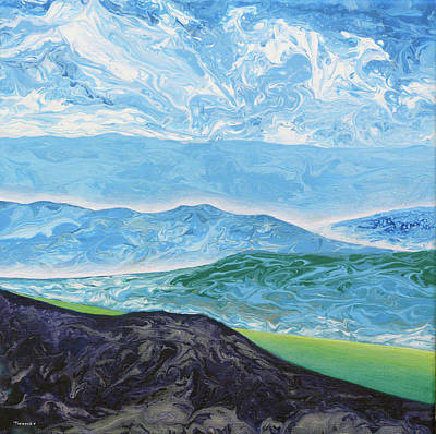 Painting - Running Dogs Clouds And Mountains by Catherine Twomey