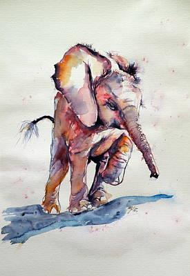Big Al Painting - Running Elephant Baby by Kovacs Anna Brigitta
