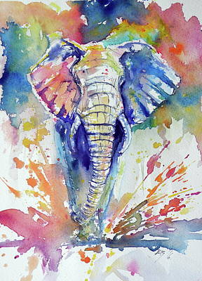 Yellow Elephant Painting - Running Elephant by Kovacs Anna Brigitta