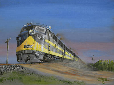 Train Crossing Painting - Running Extra by Christopher Jenkins