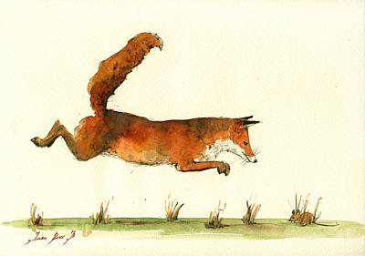 Running Fox Art Print by Juan  Bosco