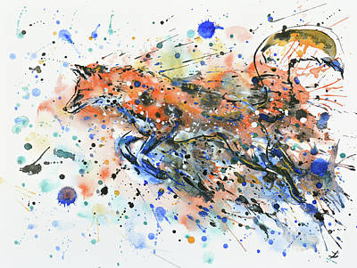 Painting - Running Fox by Zaira Dzhaubaeva